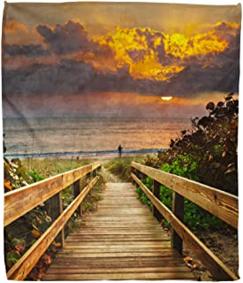 Semtomn Flannel Throw Blanket 60x80 Inch Vacation Boardwalk on Beach at Sunrise Adventure Sunset Travel Light Comfortable Soft for Bed Sofa