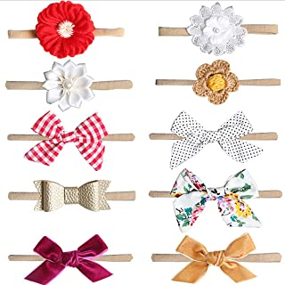 MEIQUAN Baby Girl Headbands and Bows, Hair Accessories (10-Pack Different Styles) (Style-4)