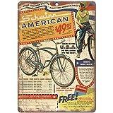 VEHFA Schwinn American clásico - Señal de Metal para Bicicleta (20,3 x 30,5 cm)