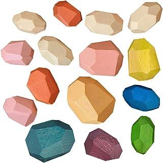 Wenini Wooden Rainbow Stacking Toy Large Nesting Puzzle Blocks Educational Learning Toys/ Creative Colorful Building Block...