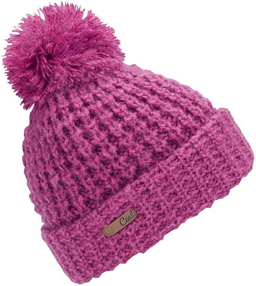 Coal Women's The Kate Waffle Knit Beanie Hat with Oversized Pom