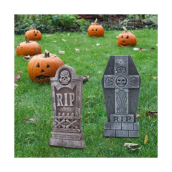 JOYIN 43 cm 5 Decorazioni di Halloween RIP in Pietre Tombali Cimitero in Schiuma e 12 Puntali in Metallo Bonus per Decorazioni in Cortile 5 spesavip
