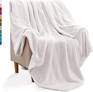KAWAHOME Sherpa Fleece Blanket Super Soft Extra Warm Thick Winter Christmas Blanket for Couch Sofa Bed King Size 108 X 90 Inches White