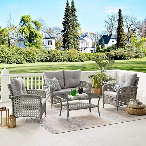 Tribesigns 4 Pieces Outdoor Patio Furniture Sets, PE Rattan Chair Patio Set Wicker Conversation Set with Waterproof Cover Coffee Table for Porch Poolside Balcony Garden (Gray + Light Gray)