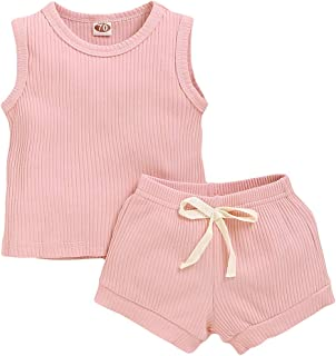 Newborn Baby Boys Girls Summer Outfits Sleeveless Tank Top+ Shorts Two Piece Spring Clothes Set