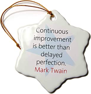 3dRose Mark Twain Quotes - Continuous Improvement is - Ornaments (ORN_273709_1)