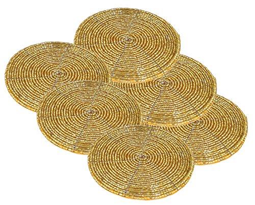 6er Set Untersetzer Gold Perlen Klein Handarbeit Geschenk Indische Dekoration Durchmesser - 10 cm