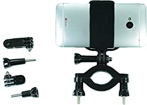 Gopro Style Roll Bar Mount with Action Mount Adapter for Smartphone, Operable with Any Smartphone. Strongest Hold on the Market. Roll Bar Mount for Gopro, or Iphone 5s 5 4s Samsuang Galaxy S5 S4 S3. Can't Afford Gopro? Use Your Phone!