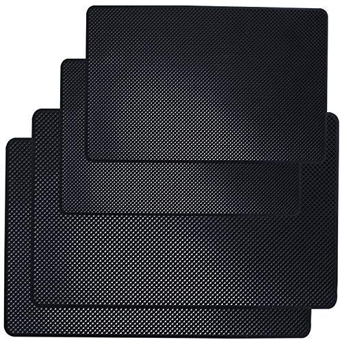 SourceTon Lot de 4 tapis antidérapants pour tableau de bord de voiture - 26,7 x 14,5 cm et 20,3 x 13 cm - En latex - Pour téléphone portable, lunettes de soleil, clés, pièces de monnaie