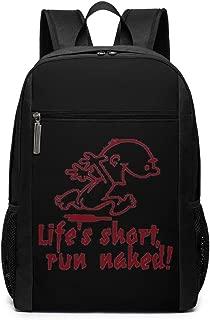 Life's Short Run Naked Travel Backpack Laptop Backpack Computer Business Backpack College School Bookbag Black 17 Inch