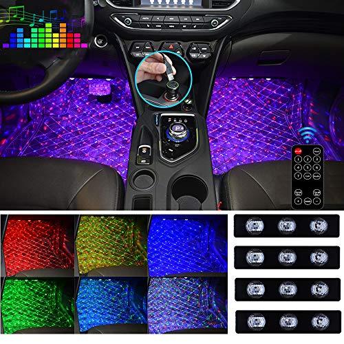 Car Interior Ambient Lights, USB Plug-in Stars Atmosphere Light for Car Carpet RGB Multicolor LED Accent Kit (4 Items, DC 5V)