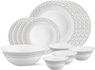 Larah by Borosil Classic Opalware Dinner Set, 13-Pieces, White