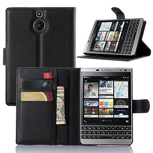 Passport Wallet Case,IVY BlackBerry Passport Silver Edition PU Leather Case Wallet Phone Case [Litchi Grain] for BlackBerry Passport Silver Edition - Black