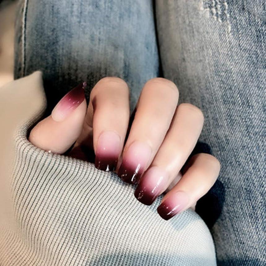 版姓昨日XUTXZKA 女性およびステッカーのための24のPCの赤い勾配色の長い偽の釘の方法偽造品の釘