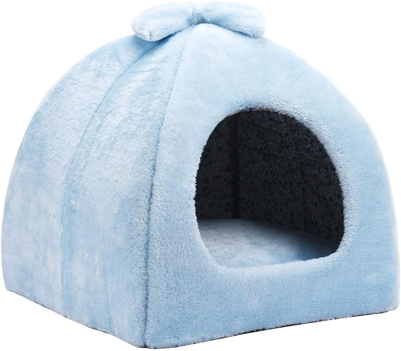 HQQ Cute Pet Bed Cat Litter Kennel Winter Warm Puppy (color   bluee, Size   M)
