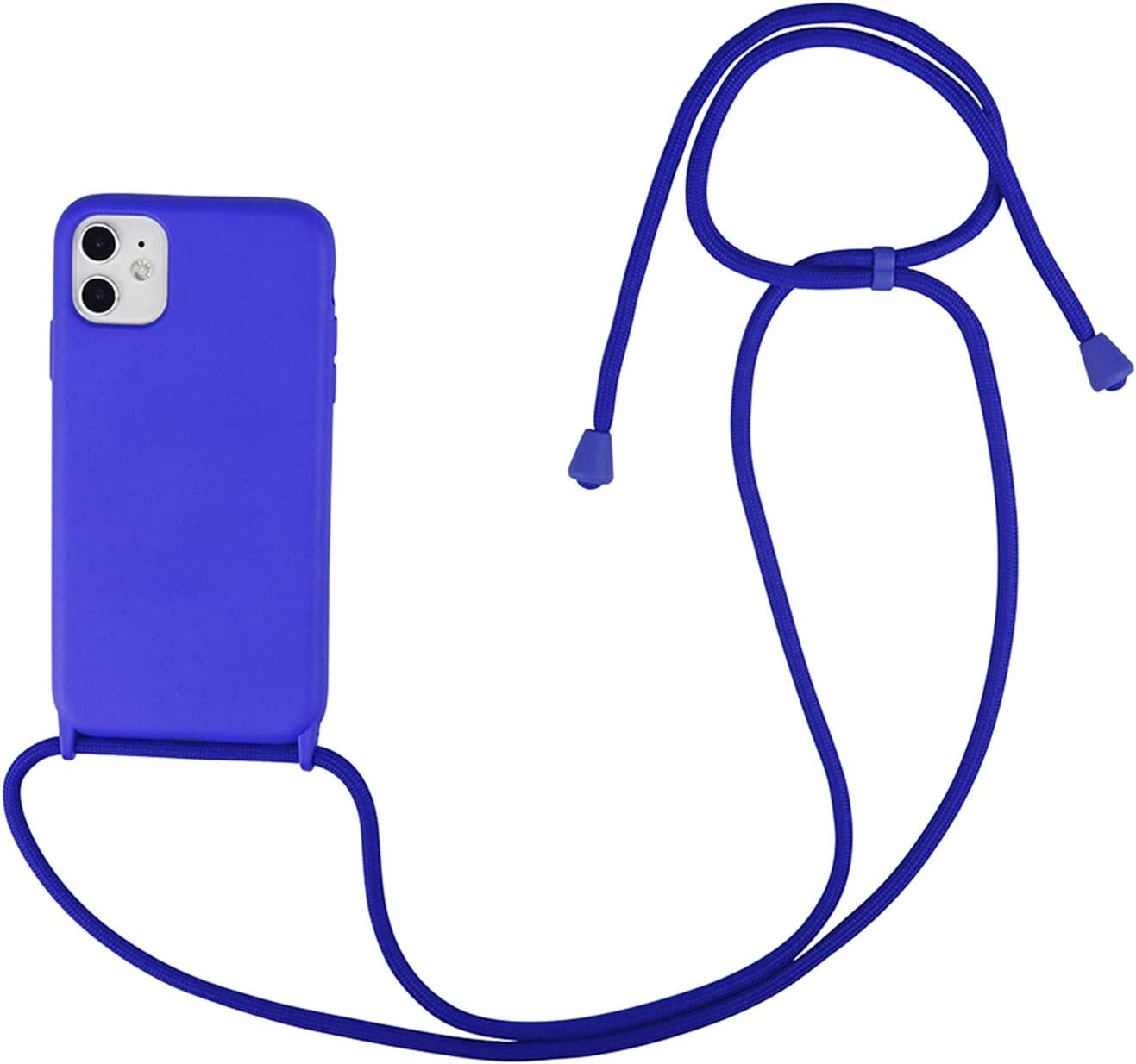 Zija Crossbody Necklace Holder Phone Case for iPhone 11 pro XS max Xr 6s 7 8 Plus Lanyard Silicone Case Cover with Cord Strap Rope (Color : Jewelry Blue, Material : for 6 6s 7 8 SE2020)