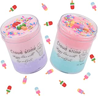 Seven Three 2PCS Fluffy Slime Sludge Toy Stress Relief Fruits Cloud Slime Toy Kids Adults Soft Stretchy Non-Sticky (400 ml)