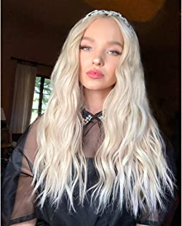 RDY Platinum Blonde Body Wave Synthetic Lace Front Wig With Natural Hairline 24Inh Long Glueless Heat Resistant Fiber Hair Lace Wigs For Women