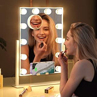 Misavanity Large Hollywood Vanity Makeup Mirror with Wireless Charger, Lighted Makeup Mirror with Lights and 10X Magnification, Beauty Cosmetic Mirror with 12pcs LED Dimmable Bulbs for Dressing Room