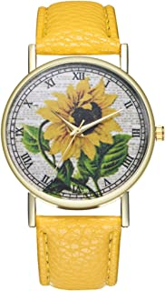 Loweryeah Women Sunflower Pattern Casual Quartz Watch Print Dial Watch with Artificial Leather Band(Yellow)