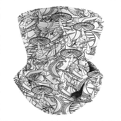 WH-CLA Polainas De Cuello,Amarillo-Maestro-Víbora-Cinta-Bailarina-Serpiente Cuello Bufanda,Impreso Calentador De Cuello,Hombre Mujer Bandana para Caza,Motocicleta,Pesca