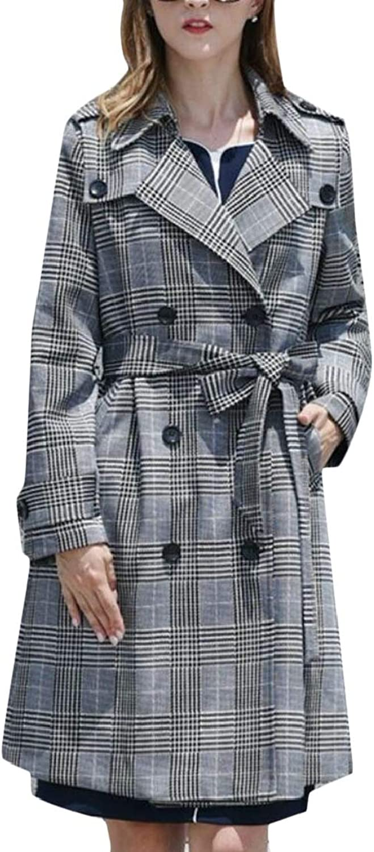 PandapangCA Women's Belt Plain Pocket Lapel Neck Plaid Double Breasted Midi Trenchcoats Jacket