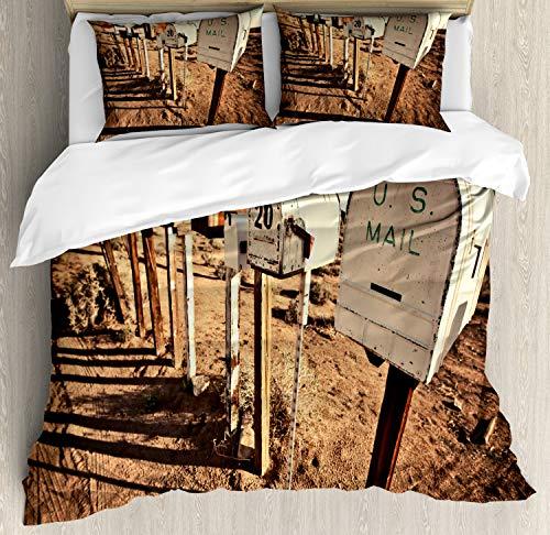 ABAKUHAUS Verenigde Staten Dekbedovertrekset, oude Brievenbussen, Decoratieve 3-delige Bedset met 2 Sierslopen, 230 cm x 220 cm, Bruin Blauw Wit