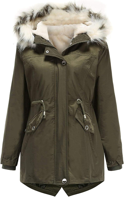 HGWXX7 Womens Coats Fleece Lined Long Sleeve Parka Jacket Removable Tie Dye Faux Fur Hood Plus Size Zip Up Pocket Jacket Army Green