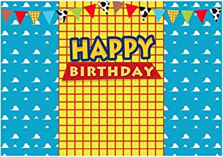 Funnytree 7x5FT Blue Sky Yellow Lattice Photography Backdrop for Kids Cartoon Story Birthday Party Banner Western Cowboy Flags Background Photo Booth Prop