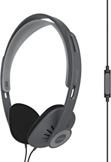 Koss KPH30iK On-Ear Headphones, in-Line Microphone and Touch Remote Control, D-Profile Design, Wired with 3.5mm Plug, Dark Grey and Black