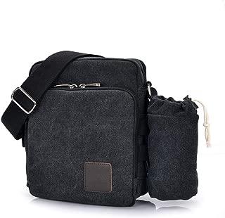 Men's Shoulder Bag, Popoti Handbag Canvas Crossbody Bag Shopping School Backpack Messenger Carrying Bags Tote Purse Multifunction Small Pockets (20x11x23cm, Black with Pocket)