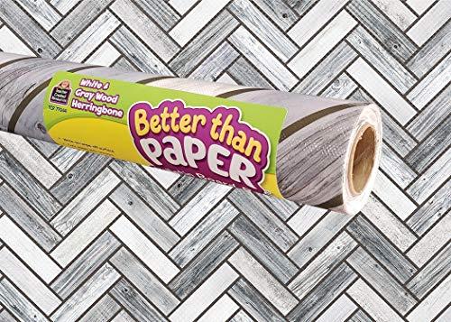 Teacher Created Resources White & Gray Wood Herringbone Better Than Paper Bulletin Board Roll (TCR77044)