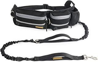 """FURRY BUDDY Hands Free Dog Leash, Dog Walking Training Belt Shock Absorbing Bungee Leash up to 180lbs Large Dogs, Phone Pocket Water Bottle Holder, Fits All Waist Sizes from 28"""" to 48"""""""