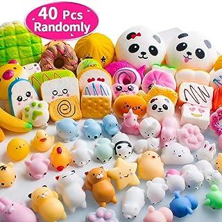 40PCS MOMOTOYS Squishies Mochi Mini Squishies Toys 20 Kawaii Animal Squishies 20 Food..