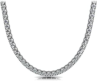 Unisex Sterling Silver 4mm Cubic Zirconia Tennis Necklace Available in 16