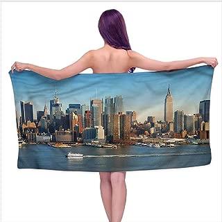 Hariiuet Soft Bath Towel Urban,NYC Skyline River Scenery,W12 xL35 for Men red