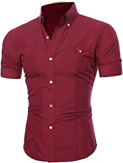 Shirt for Men, F_Gotal Men's T-Shirts Fashion Summer Short Sleeve Classic Fit Buttons Sport Tees Blouse Tops