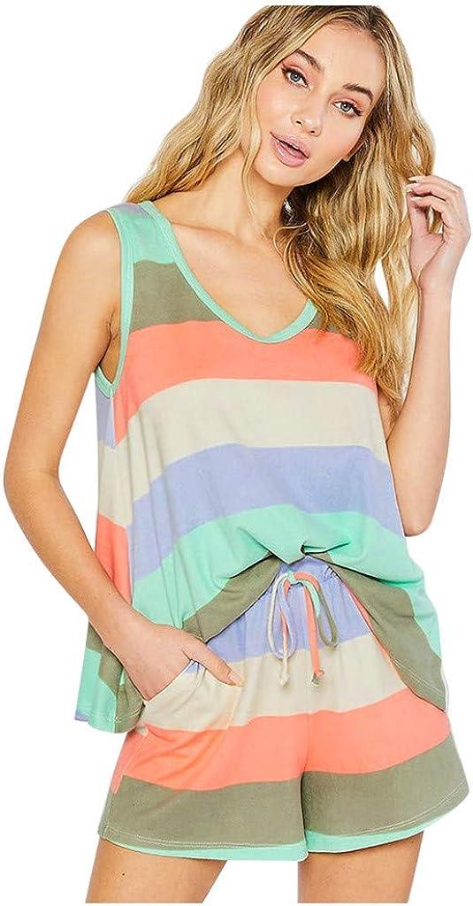 WHSHINE Women Home Clothing Rainbow Stripes Sleeveless Pajama Set Sleep Lounge Drawstring Shorts Sleepwear Nightwear