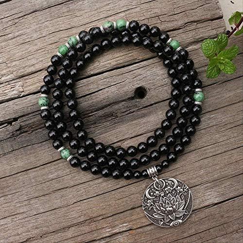 CCXXYANG Co.,ltd Necklace 8Mm Natural Stone Beads Lotus Black Onyx Ruby Zoisite Japamala Sets Meditation Inspirational 108 Mala Beads