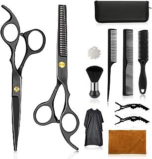 Wrei tijeras de peluquería, Conjunto Tijeras Peluquelo Profesional para el cabello, tijeras de peluquería con capa de barbero y peine de maquinilla de afeitar, clips, set corte de pelo profesional