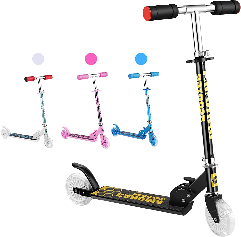 Caroma Scooter para niños de 3 a 10 años con 2 ruedas de luz de poliuretano, 3 ruedas de altura ajustable, 2 ruedas para niñas y niños, 5 libras de ...