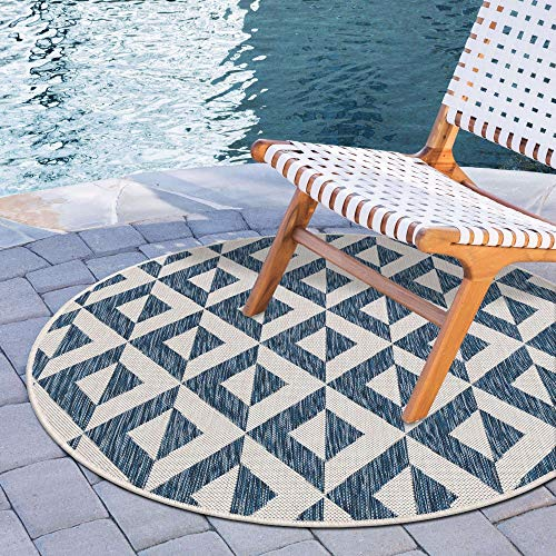 Unique Loom Jill Zarin Outdoor Collection Modern Geometric Blue/Ivory Round Rug (6' 7 x 6' 7) -  3152461