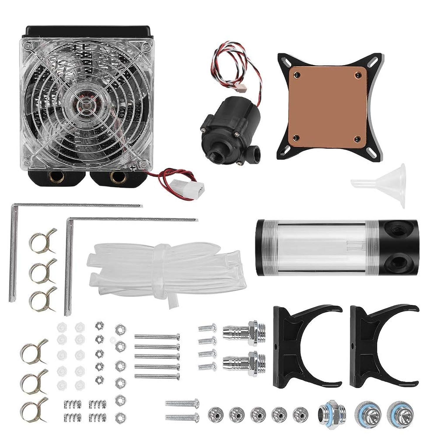Pokerty Cooling Heatsink, DIY Computer Water Cooled Heat Dissipation Set Cooling Heatsink Radiator Pump Reservoir