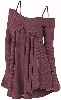 KCatsy Crisscross Open Shoulder Tunic Sweater
