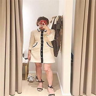 fly flower 2018新款女 ma 小香风复古粗花呢撞色单排扣 je 年会连衣裙女秋冬