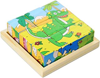 Kylin Express Children's Toys 3D Wooden Puzzle for Kids Educational Toy Dinosaur Cube Puzzle