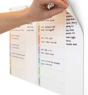 mcSquares Dry-Erase Weekly Planner | 2-Pack planning whiteboards That Cling to Stainless Steel & Glass (Any Shiny Surface)... photo