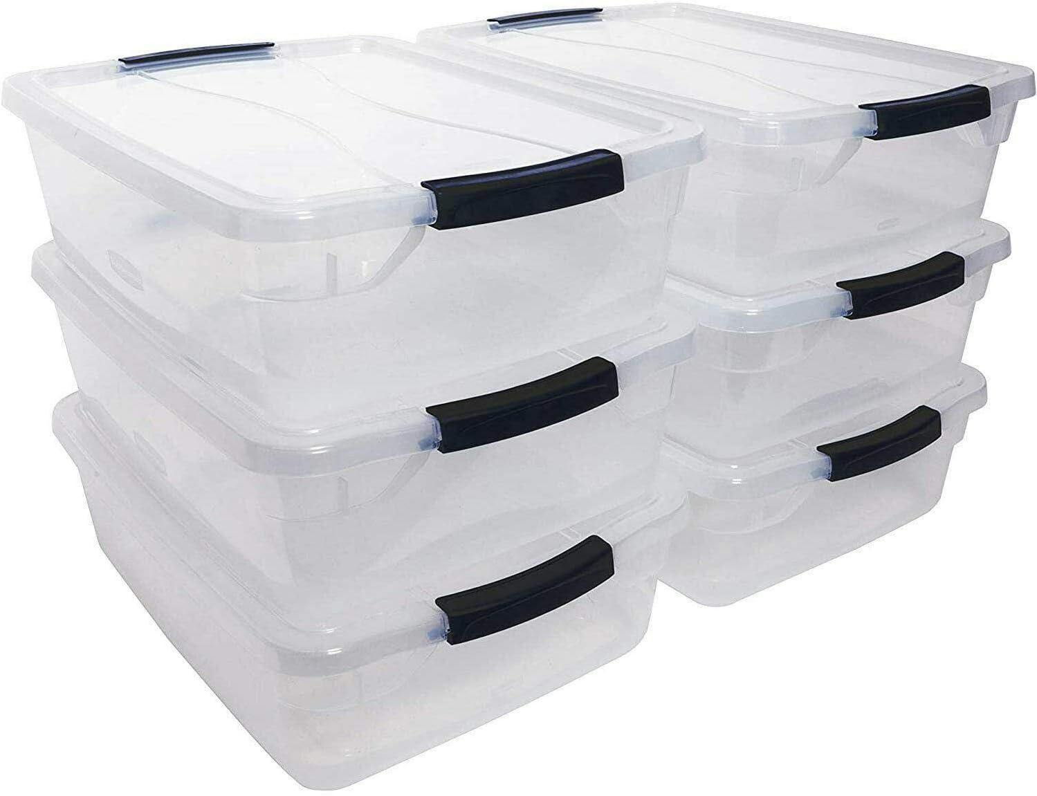 kuz 16 Quart Plastic Max 87% OFF Storage Tote -St with 6 Lid Pack Container Overseas parallel import regular item