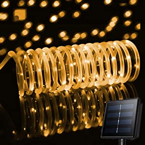 Solar Rope Led String Lights 33ft 100LED Solar Powered Fairy Lights Waterproof Decoration for Xmas,Home,Gardens,and Parties.