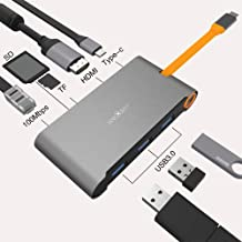USB C Hub 8-in-1 Adapter with PD Power Delivery, 1Gbps Ethernet Port, TF/SD Card Reader, 4K HDMI, 3 USB 3.0 Ports for MacBook Pro and Type C Windows Laptops (Grey)
